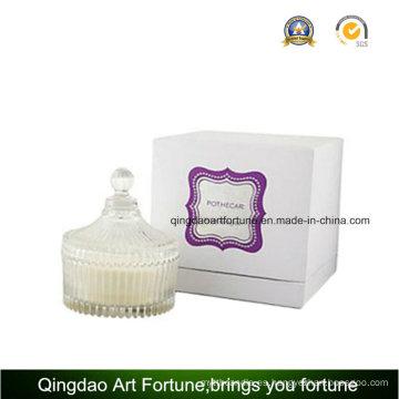 Vela perfumada de vidrio de vidrio perfumado en caja de regalo