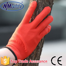 NMSAFETY anti dust work use 13g red liner nylon/polyester work gloves