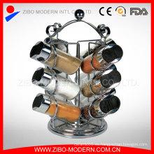 12 PCS plástico tapa vidrio especia jarra con especias Rack