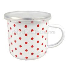 10cm(700ml) white enamel mug with decals