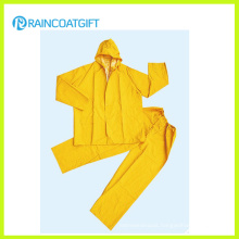 2PCS Yellow PVC Polyester PVC Rainsuit