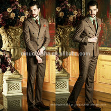 High Quality Brown Check Two-Row Botões 2014 Trajes de casamento para homens Fancy Business Men's Suits Unique Design NB0571