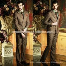 Высокое качество коричневый проверить двухрядные кнопки Свадебные костюмы 2014 для мужчин модные деловые Мужские костюмы уникальный дизайн NB0571