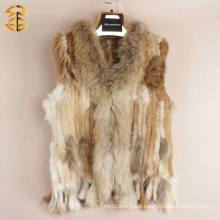 Hot Sale Sleeveless Real Women Fur Vest Short Style Natural Rabbit And Raccoon Vest