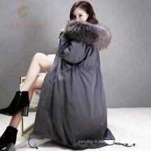 Les femmes faites sur commande spéciales descendent le long manteau avec la vraie capuche de fourrure nouvelle arrivée en gros de Chine