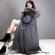 Специальные пользовательские женщины зима вниз пальто длинное с натуральным мехом капюшоном новое прибытие оптом из Китая