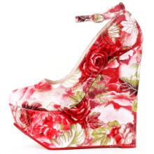 экзотический красный дамы обувь подошва клинья каблуки
