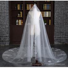 Новый Собор длина 3 метра цвета слоновой кости вуаль венчания с полным аппликации