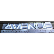 Back Lit Stainless Steel Channel Letter with Non-Illuminated Stainless Steel Sign