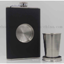 OEM Whisky Stainless Steel Shot Hip Flask with Folding Cup