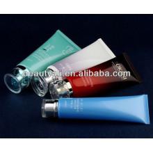 round cosmetic plastic tube with acrylic cap