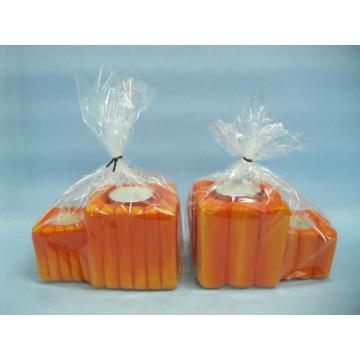 Pumpkin Candlestick Shape Ceramic Crafts (LOE2363-12z)