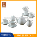 15 pcs cheap ceramic white porcelain tea pot set tea set