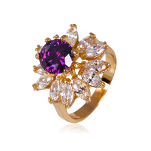 Xuping Fashion New Design Zircon 18k Gold Plated Ring