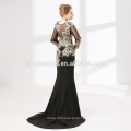 Fornecimento de fábrica pesado frisado cor preta mulheres vestido de noite vestido com manga longa