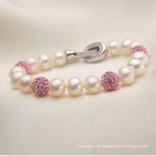 7-8mm natürliche Süßwasser kultivierte Perlen mit Kristallen Armband Schmuck (E150030)
