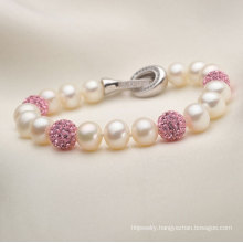 7-8mm Natural Freshwater Cultured Pearls with Crystals Bracelet Jewelry (E150030)