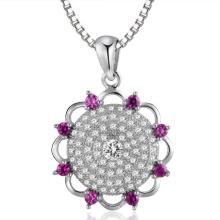 Big Flower Micro Setting 925 Sterling Silver Pendants Jewelry