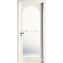 Design de porta de madeira arqueado vidro artesão de raio superior