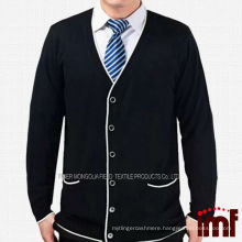 Fashion Black Elderly Mens Leisure Style Knitting Cardigan Sweater