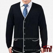Moda Preto Idosos Mens Estilo Lazer Knitting Cardigan Sweater