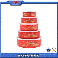 Juego de pavo real de color rojo 5 juegos en tazones de almacenamiento en frío