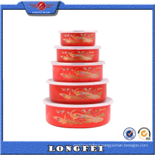 Red Color Peacock 5 Sets Keep in Cold Storage Bowls