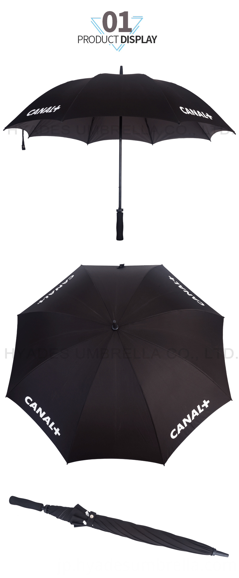 Windproof Fiberglass Dual Layer Straight Umbrella