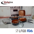 10pcs Kupfer Keramik Kochgeschirr Sets