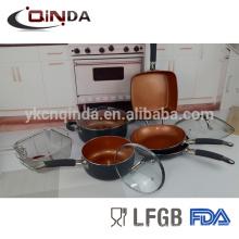 Ensembles de batterie de cuisine en céramique de revêtement de cuivre 10pcs