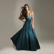 Magnífica bola vestido querida decote Strapless do assoalho-comprimento-cintura Beading tafetá vestido de noite