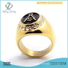 Freimaurer-Ringe-Gold überzogener ovaler Form-Maurer-Logo-Ring