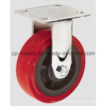 4inch Heavy-Duty Red PU Fixed Caster Wheel