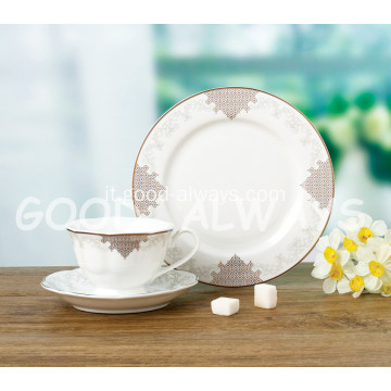 SET TEA NEW BONE CHINA ORO 24K