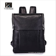 Estilo coreano cavalo louco couro genuíno mochila laptop com zíper macio
