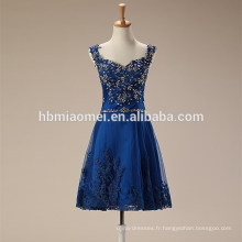 Fashion Femmes Bleu Court Mini Robe de Soirée Dentelle Élégante Douce