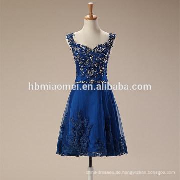 Mode Frauen blau kurze Mini weiche elegante Spitze Abendkleid