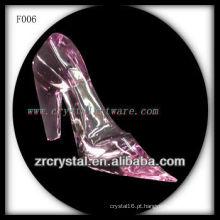 K9 mão de cristal rosa esculpida de salto alto