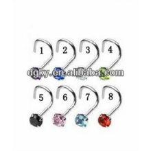 Corea moda doblada nariz de acero inoxidable anillos joyas cuerpo