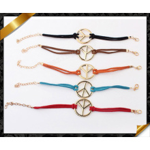 Charms Peace Bracelet, Leather Clasps Bracelets, Wholesale Jewelry Bracelets (FB088)