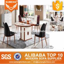 Table de salle à manger ronde en marbre de style américain avec armoire