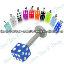 316L surgical steel Labet with Acrylic Dice Labret Monroe Lip Jewelry Dice Lip Piercing Studs