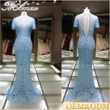 Robe de soirée Chine 2017 robe de demoiselle d'honneur robe de soirée bleu dentelle