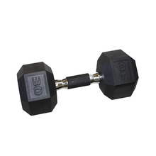 30LB Black Rubber Hex Dumbbell