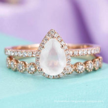 Wholesale 925 Silver Moonstone Ring Set
