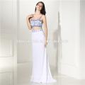2017 Bluestone Silk Chiffon Tie Neck Abendkleid neuesten Kleid Designs Maxi Kleid