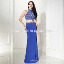 Верный синий sleevelss V-образным вырезом элегантный вечерние платья ручной