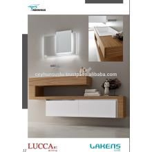 Neue Generation Badezimmer Eitelkeit mit Eiche furniert Arbeitsplatte und weiß lackiert weiche Schließung Schubladen