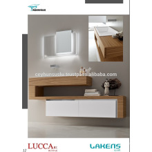 New Generation Bathroom Vanity with Oak Veneered Countertop and White Lacquered Soft closing Drawers