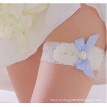 Лучшие продажи красивый синий кружева и бантом Свадебные подвязки изысканный эластичный Свадебные подвязки